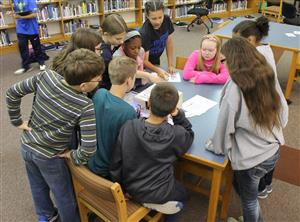 Middle School students working collaboratively