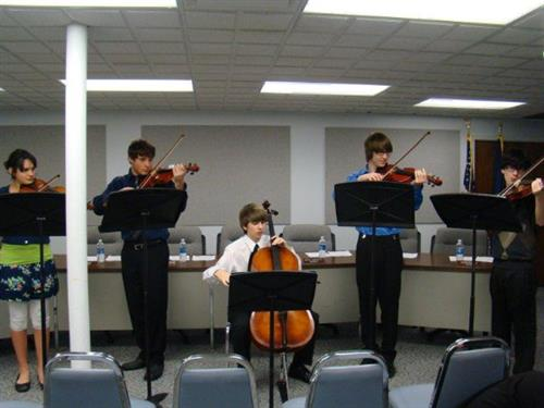 Strings student performing